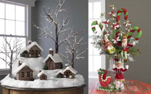 encouraging-decoration-ideas-to-make-brown-wood-snow-house-ornament-red-vintage-toy-ornaments-red-flower-ribbon-bow_christmas-decorating-ideas